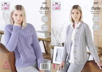 King Cole Ladies Chunky Cardigan and Sweater Knitting Pattern , 5501